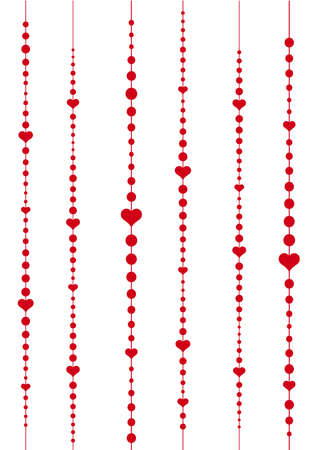 abstract background with red hearts and dots Vector