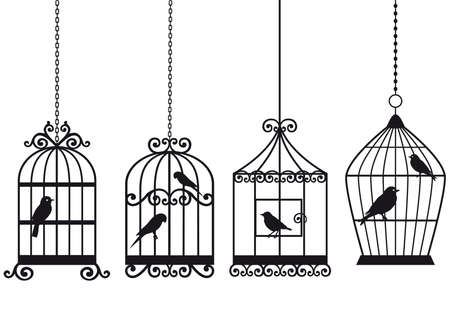 lonely bird: ornamental vintage birdcages with birds, vector background