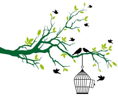 gabbie: albero con gabbia di primavera e baciare gli uccelli, vettoriale sfondo