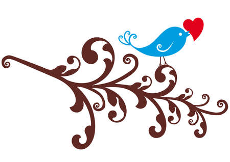 birdie: blue bird with red heart on ornamental branch , vector background
