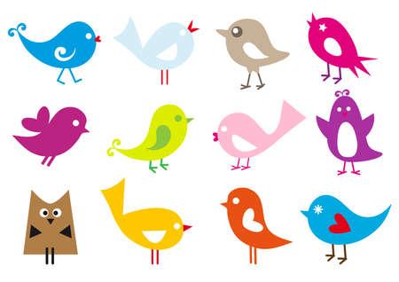 birdie: set di uccelli carino vettoriale