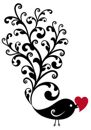 stylize: black ornamental bird with red heart, vector background