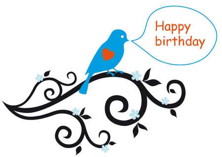 birdie: happy birthday card con uccello e ornamenti floreali