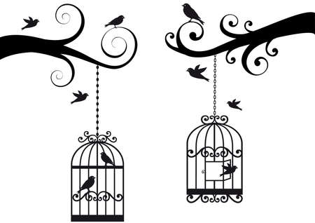 in a cage: ornamental tree branches with birdcage and birds