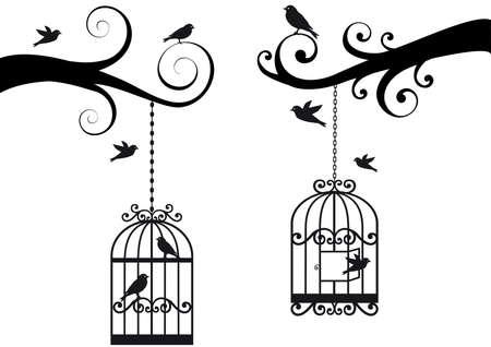 gabbie: rami degli alberi ornamentali con gabbia e uccelli