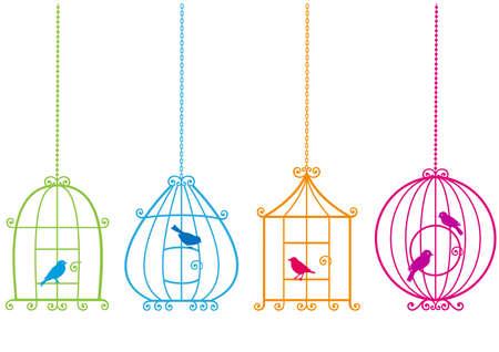 gabbie: set di voliere ornamentali con gli uccelli  Vettoriali