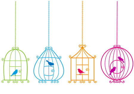 set of ornamental birdcages with birds Vector