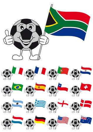 world cup 2010, soccer ball mascot with flags Vector