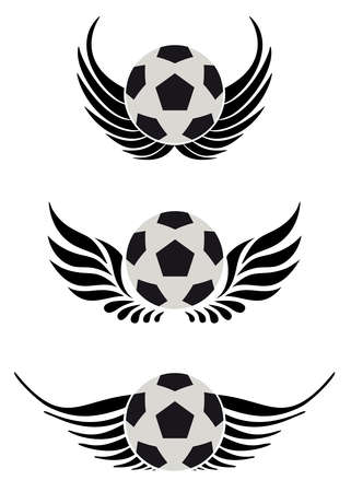 soccer balls with wing Vector