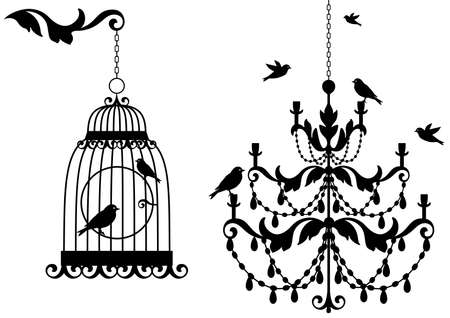 vintage birdcage and crystal chandalier with birds, background Vector