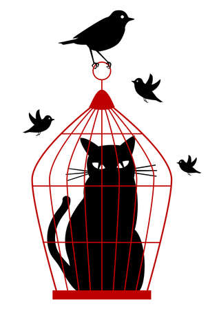 jail: cat caged in birdcage by birds,  background