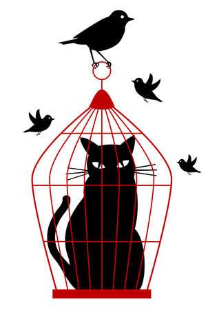 oiseau dessin: Chat avec cage dans birdcage par les oiseaux, arri�re-plan