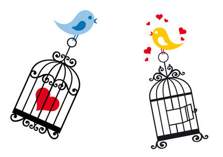 in a cage: love birds with birdcage and heart Illustration