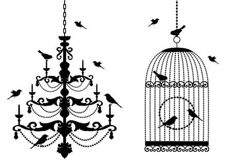chandeliers: vintage birdcage and crystal chandelier with birds,  background Illustration