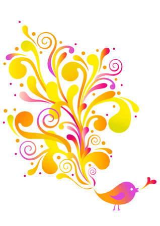 birdie: uccello carino con turbinii floreali, sfondo