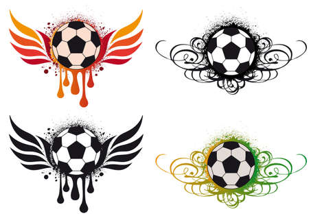 grungy soccer ball with fire wings and ornaments,  background Vector