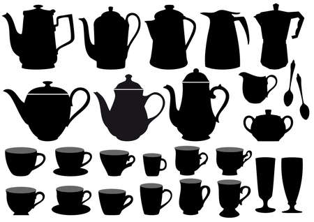 teapots: coffee pot and cup silhouettes Illustration