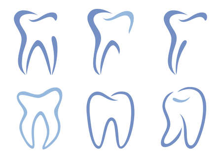 zuby: set of abstract teeth Ilustrace