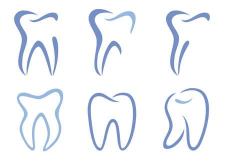 set van abstracte tanden