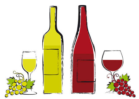 red and white wine bottles with glasses and grapes, vector