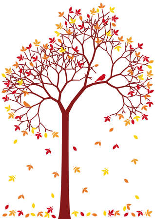 autumn tree with colorful falling leaves Stock Vector - 7614919