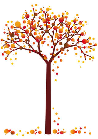 leaves vector: colorful grungy autumn tree with falling leaves, vector background