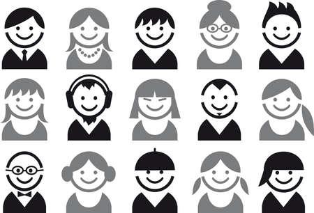 avatars: set di icone di facce donna e uomo