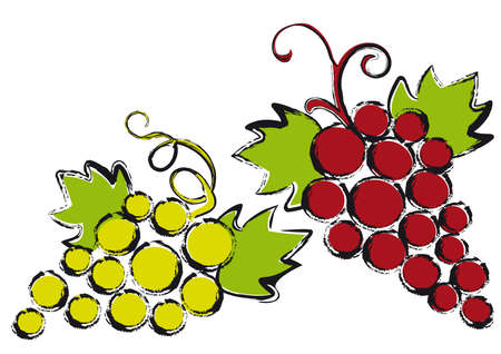 bunch of grapes: red and green grapes with vine leaves