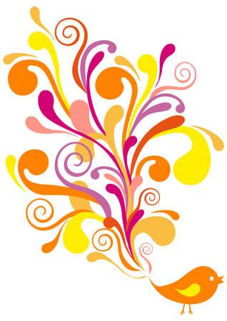 floral swirls: cute bird with floral swirls