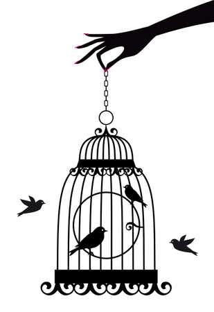 duif tekening: vrouwelijke hand die vogel kooi met vogels