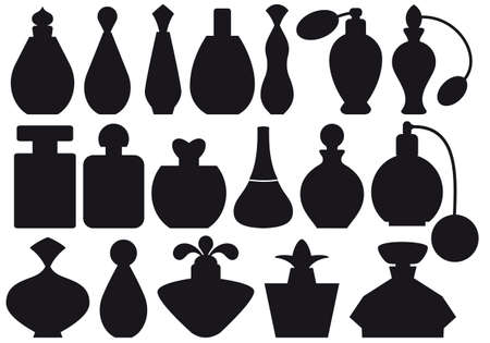 conjunto de siluetas de botella de perfume
