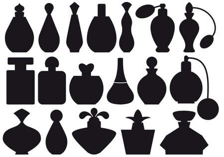 fragranza: serie di sagome di bottiglie di profumo  Vettoriali