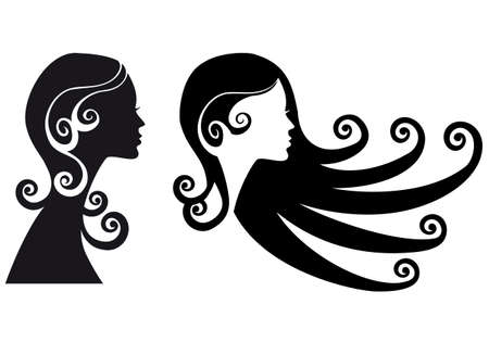 hair curl: woman silhouette with long black hair