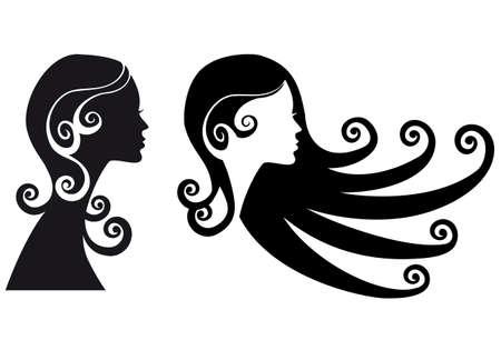 long black hair: woman silhouette with long black hair