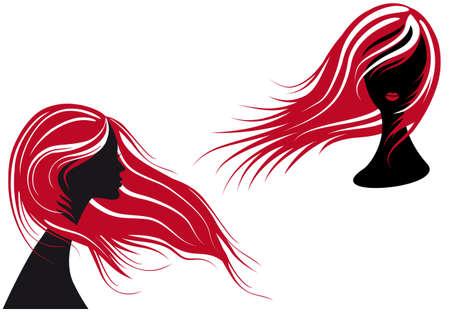cabello largo y hermoso: silueta de mujer con pelo largo rojo,  Vectores