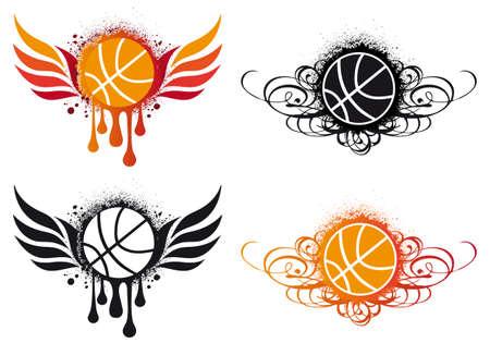 baloncesto con alas de fuego y ornamentos