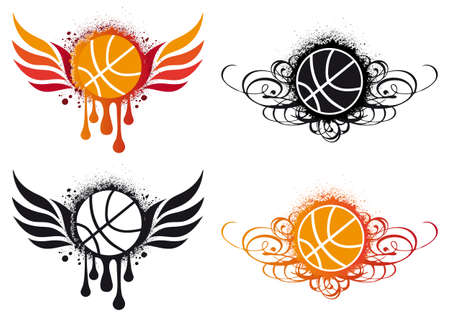 basketball with fire wing and ornament  Vector