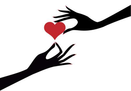 siluetas mujeres: manos femeninas con fondo de coraz�n rojo  Vectores
