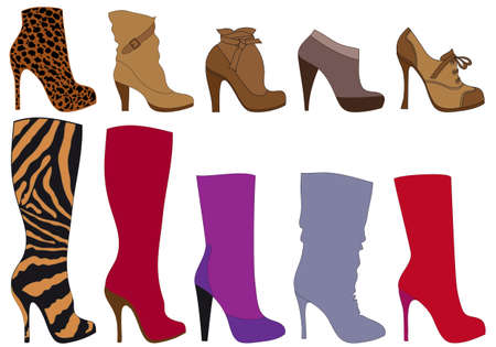 boot print: set of detailed shoe silhouettes