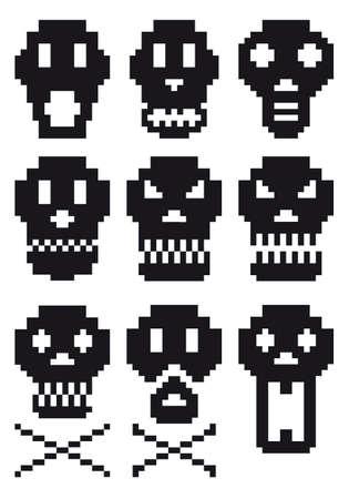 pixel skull icon set Stock Vector - 7971103