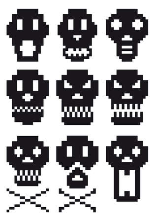 pixel skull icon set Stock Vector - 7971103
