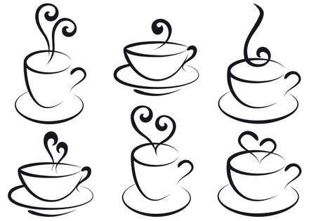 steamy: coffee and tea cups