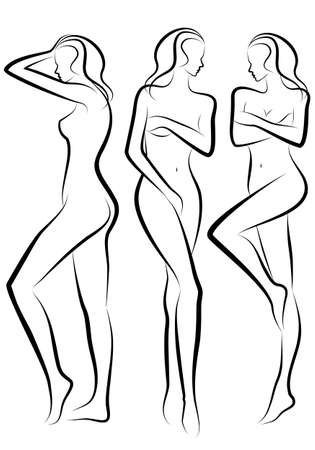 naked woman back: female body silhouettes