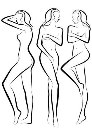 ni�a desnuda: siluetas de cuerpo femenino