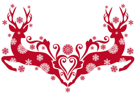 antlers silhouette: red christmas deer with snowflakes, background