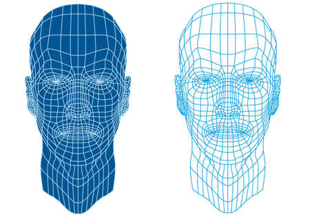 wire mesh: male face with futuristic mesh texture Illustration