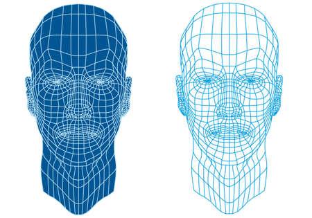 gezicht: Mannen gezicht met futuristische mesh textuur