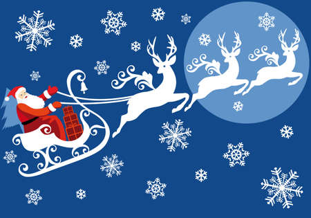 Santa riding on sleigh with reindeer, christmas background Vector