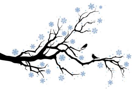 boom met vogels: prachtige winter boom met sneeuwvlokken en vogels, achtergrond