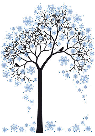 �rboles con pajaros: �rbol de invierno hermoso con copos de nieve, fondo